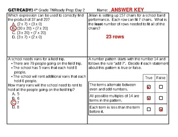 10-Day 4th Grade Tennessee TNReady Test Prep SAMPLER (2 pages with answer key)