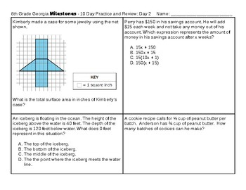 10-Day 6th Grade Georgia Milestones Test Prep: Practice for the GA Milestones