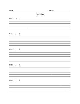 10 Day Exit Slip Template