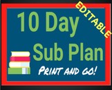 10 Day Sub Plan High School English - or Middle School - P