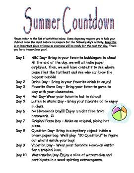 10-Day Summer Countdown
