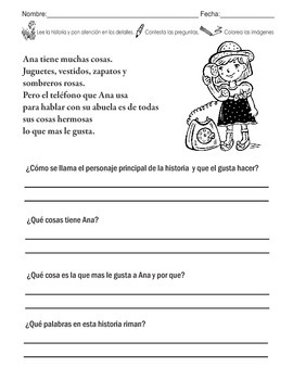 10 Different Spanish Short Stories/Poems with Questionare for Homework