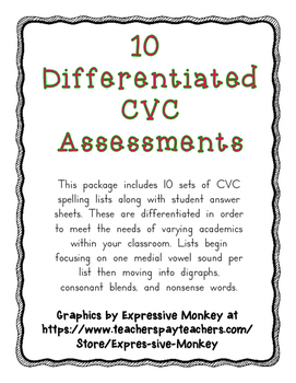 10 Differentiated CVC Assessments Common Core
