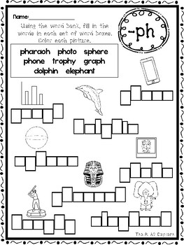 10 Digraph Box Writing Worksheets. Kindergarten-1st Grade ELA.