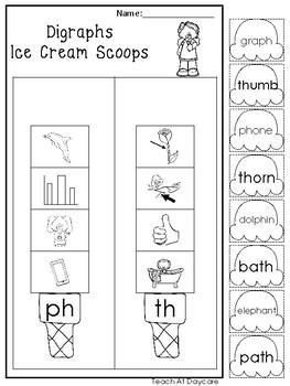 10 Digraph Ice Cream Scoops Worksheets. Kindergarten-1st Grade ELA.