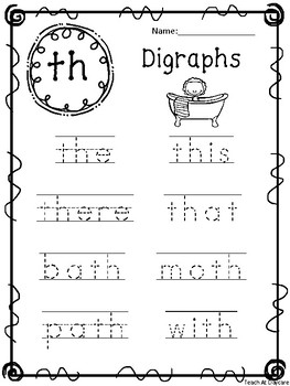 10 Digraph Words Tracing Worksheets. KDG-1st Grade ELA and Phonics.