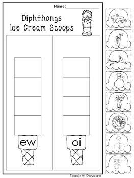 10 Diphthongs Ice Cream Scoops Worksheets. Kindergarten-1st Grade ELA.