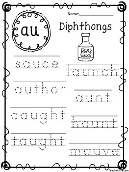 10 Diphthongs Tracing Worksheets. Kindergarten-1st Grade ELA.