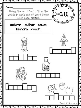 diphthongs box writing worksheets kindergartenst grade ela originaljpg