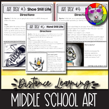 10 Art Projects designed for Middle School art students to use for Distance Learning to allow for Learning at Home during unexpected school closures, emergencies, absences, home schooling, or use them for maternity leaves or for Art Subs. Click here to view the resource.
