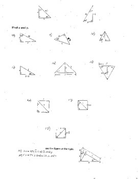 10 Double Sided Special Right Triangles w/Quizzes Radicals Complex Numbers