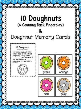 10 Doughnuts -A Fingerplay & Memory Cards