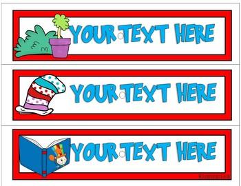 10 Drawer Cart EDITABLE Labels - Dr. Seuss Inspired