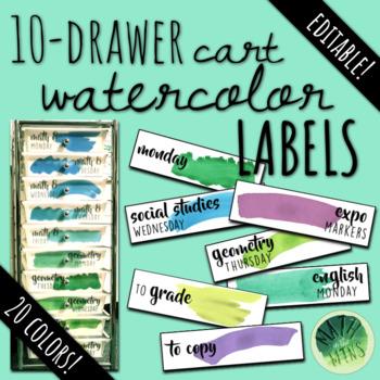 10 Drawer Cart EDITABLE Watercolor Labels!