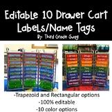 10 Drawer Cart Editable Labels