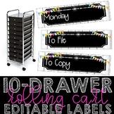 10 Drawer Cart Editable Labels (Neon Shiplap)
