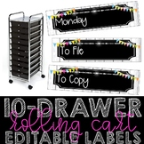 10 Drawer Cart Editable Labels (Neon Shiplap)