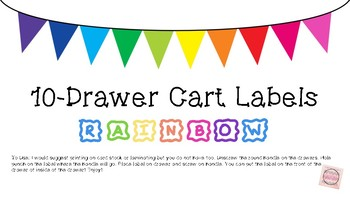 10-Drawer Cart Label in Rainbow & Black and White