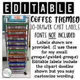 10 Drawer Cart Labels - Coffee Themed
