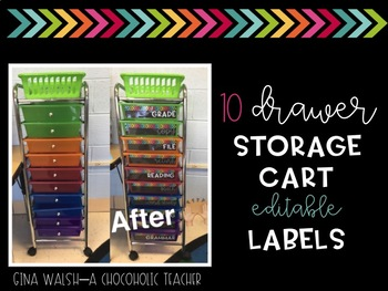 10 Drawer Cart Labels {Editable}