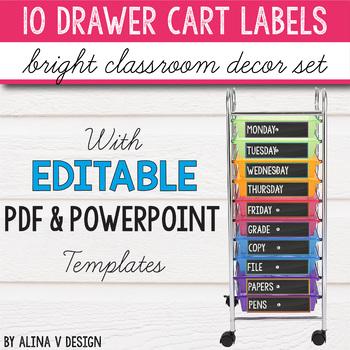 10 Drawer Cart Labels Editable - 10 Drawer Rolling Cart Labels