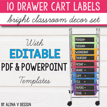 10 Drawer Cart Labels Editable Worksheets Teaching Resources Tpt
