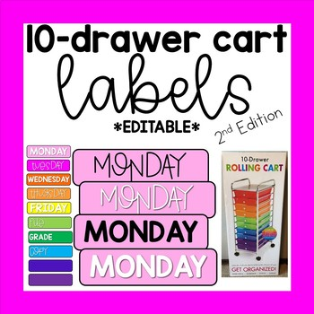 10 Drawer Cart Labels Editable 2nd Edition