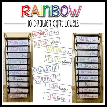 10 Drawer Cart Labels- Rainbow