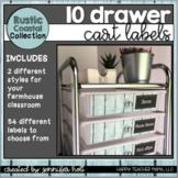 10 Drawer Cart Labels (Rustic Coastal Farmhouse)