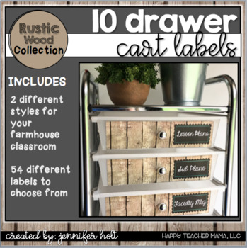 10 Drawer Cart Labels {Rustic Wood}