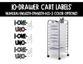 10 Drawer Cart Labels- numeral, English, Spanish, ASL (3 c