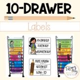10-Drawer Editable Melonheadz Labels