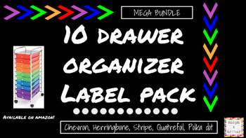 10-Drawer Chevron, Herringbone, Polk dots, Quatrefoil, Stripe:Labels MEGA BUNDLE
