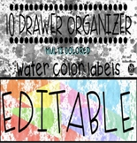 10 Drawer Labels: Multi Colored Water Color Paint Splatter EDITABLE