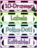 10 Drawer Labels-Polka Dot Background *EDITABLE*