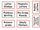 10 Drawer Labels for Word Work and Work on Writing