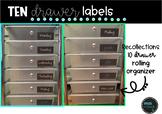 Chalkboard 10 Drawer Organizer Labels- Editable & PDF