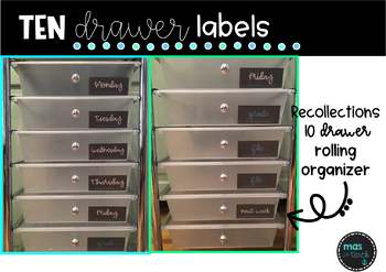 Chalkboard 10 Drawer Organizer Labels  Editable U0026 PDF