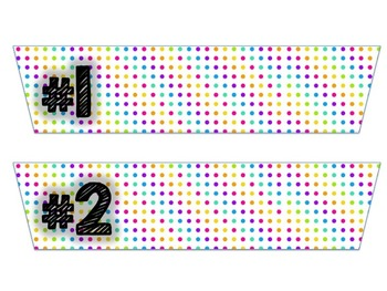 10 Drawer Plastic Organizer Labels-Bright Color Polka Dots