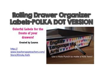 10 Drawer Plastic Organizer Labels-Bright Color Polka Dots