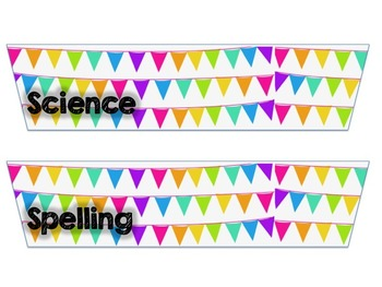 10 Drawer Plastic Organizer Labels-Bright Colors Bunting Design