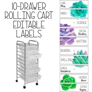 10-Drawer Rolling Cart Editable Labels in Succulent