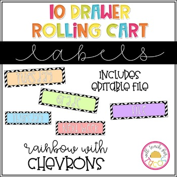 10 Drawer Rolling Cart Labels