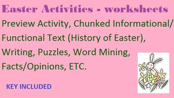 10 Easter Activities - worksheets- functional/informative reading, writing, etc.