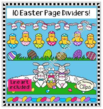 10 Easter Page Dividers - color and line art