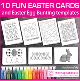 10 Fun Easter Card templates to color & Easter Bunting cla