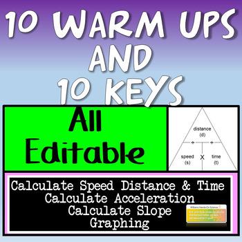 10 Editable Motion Warm Ups and Key