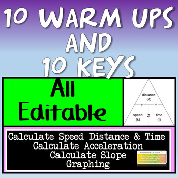10 Editable Motion Bell Ringer Warm Ups and Key