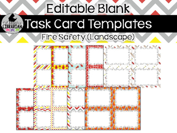 10 Editable Task Card Templates Fire Safety (Landscape) PowerPoint
