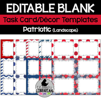 10 editable task card templates patriotic red white blue landscape